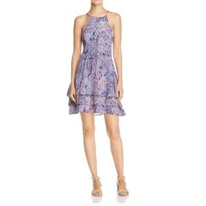 Parker Silk Paisley Ruffle Sleeveless Dress